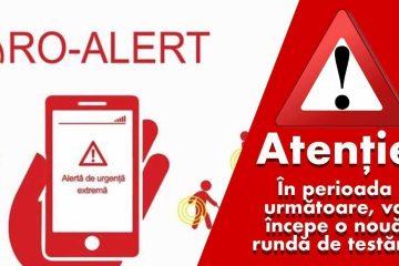 Atenție! În perioada următoare, testări RO-ALERT, pentru cazuri de urgență, pe telefoanele mobile