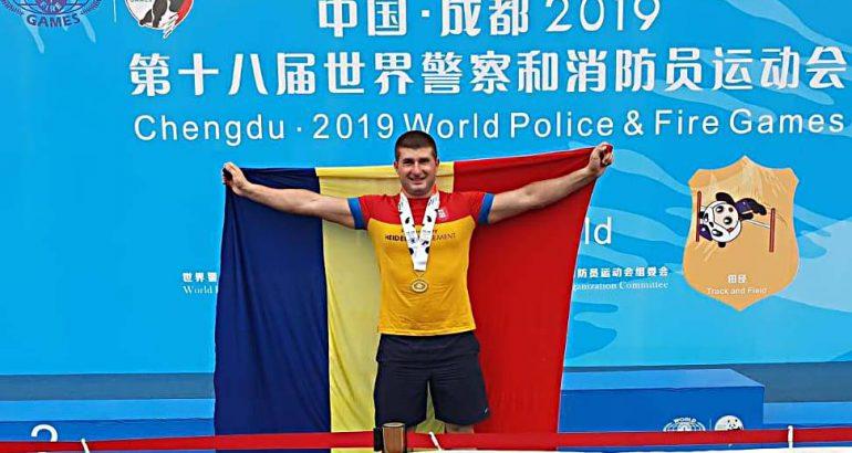 Plt. maj. Florin Asmarandei, medalie de aur la Campionatul Mondial al polițiștilor și pompierilor – China 2019