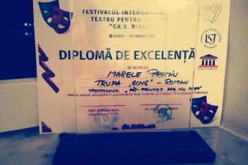 """Felicitări! Trupa de teatru GONG Roman – Marele premiu la Festivalul International de Teatru pentru tineret """"Gr. V. Birlic"""""""