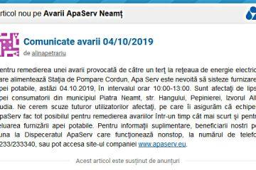 Comunicat APASERV făcut în bătaie de joc: când nu funcționează stația de pompare Cordun, se ia apă în…Piatra Neamț
