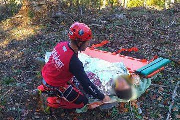 Neamț: lovit de un arbore doborât, a suferit un traumatism grav la oasele bazinului. Intervenție de 4 ore