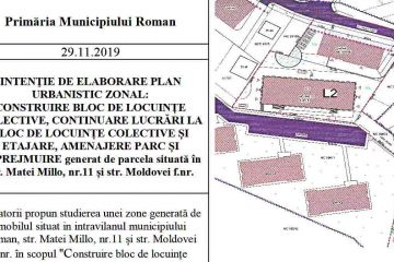Roman: Se va construi un bloc de locuințe și se va amenaja un parc, pe str. Matei Millo