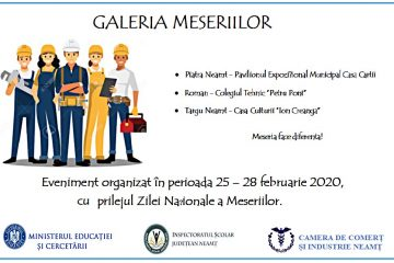 Eveniment, în Neamț: GALA MESERIILOR – la Piatra Neamț, Roman și Târgul Neamț