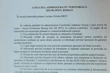 """Ionel Arsene: """"Îmi pasă de romașcani! Am solicitat documentele să ne apucăm de treabă pe Ocolitoarea Roman Est"""""""