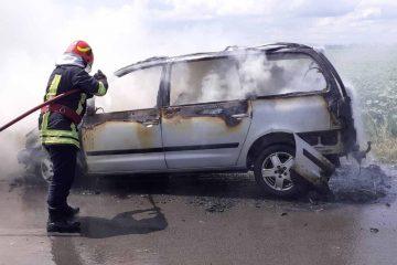 Astăzi, pe E85, pe raza comunei Săbăoani, un autoturism a luat foc