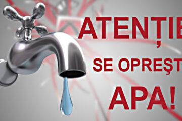 Se oprește apa în Roman, miercuri, 10 februarie: vor fi afectați locuitorii din zona C.A. Rosetti