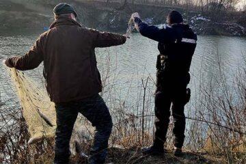 Verificări pe Siret și Moldova: plasă monofilament confiscată, pește din specia somn și scobar, eliberat în apă
