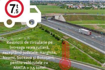 Atenție! Joi, vineri și sâmbătă, restricții de circulație pentru autovehiculele cu masa totală mai mare de 7,5 t